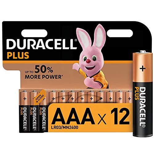 Duracell Plus, pack de 12 piles alcalines Type AAA 1,5 Volts LR03 MN2400