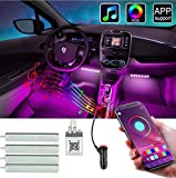 ICBEAMER RGB Interior Car Lights - Interior LED Strip Smart Phone Control Color Floor Matt Light w/Sound Active Function Atmosphere Under Dash/Seat Car Charger DC 12V Lighting Kit