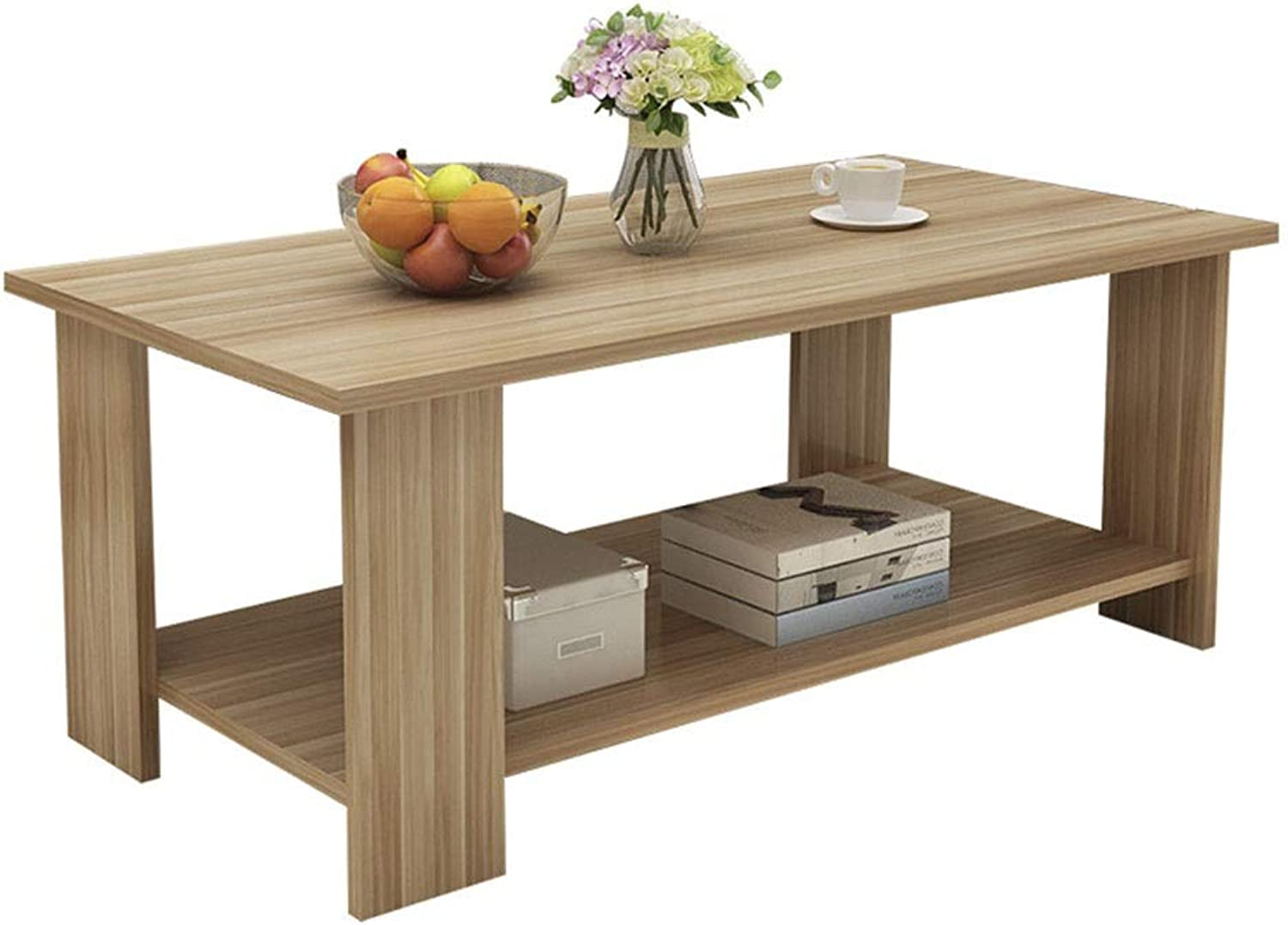 Coffee Table Coffee Table, Solid Wood Double Storey Simple Storage Table Small Apartment Tea Table Side Table 3 Size (Size   100  48  42cm)