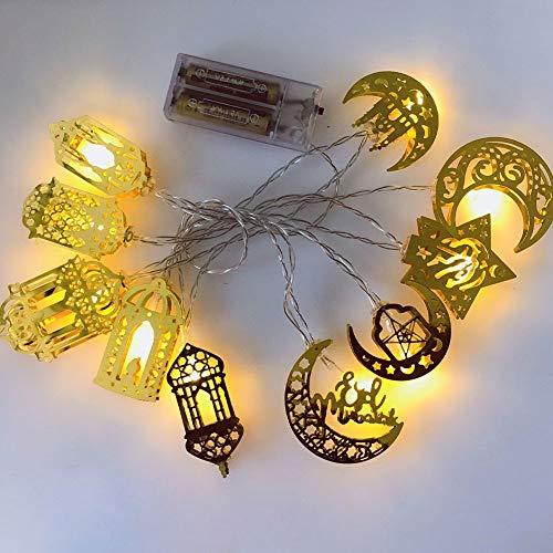 Hainice Lichterkette Muslimischen Ramadan-Laternen-Schnur-licht Lichterketten Mit Mond-Stern-eid Helle Dekoration Eid Mubarak Ornaments Lichter 1.65m