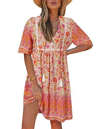 Kidsform Damen Kleider Tshirt Kleid Kurzarm Tunika Boho Blumen Sommerkleid für Damen V-Ausschnitt Minikleid Shirt Lose S-Rosa XL