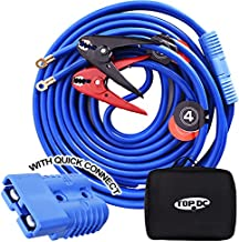 TOPDC Jumper Cables with Quick Connect Plug 1 Gauge 25 Feet 800Amp Clamps Heavy Duty Booster Cables with Carry Bag (1AWG x 25Ft)