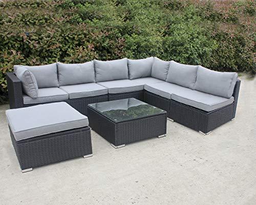 Enjoy Fit Gartenmöbel Rattan Polyrattan Lounge Sitzgruppe Garnitur aus Sessel Sofa Hocker Tisch mit Glas, Modell: Menorca