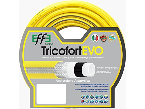 Tubo da Giardino antitorsione professionale 3/4 pollici, mt 50 di Tubo da Giardino 6 strati, Tubo per Irrigazione da Giardino, Made in Italy