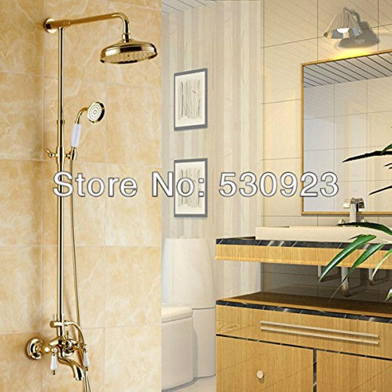 Galvanik Retro Wasserhahn Kostenloser Versand Grohandel und Einzelhandel Euro Luxury Golden poliert Messing Dusche Wasserhahn Bad Mischer Hahn Hot Sale, Multi Tap