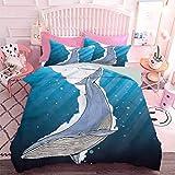 Hiiiman Home Textiles Juego de ropa de cama, diseño de fauna océana con corazones