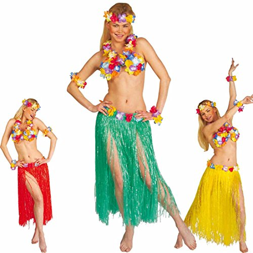 Hawaii Kostüm Set Leis Blumen Hawaiikostüm grün Hula Lei Blüten Damenkostüm Strandparty Südsee Aloha Faschingskostüm Sommerparty Karibik Honolulu Hawaiiparty Karibik Sommer Mottoparty Verkleidung