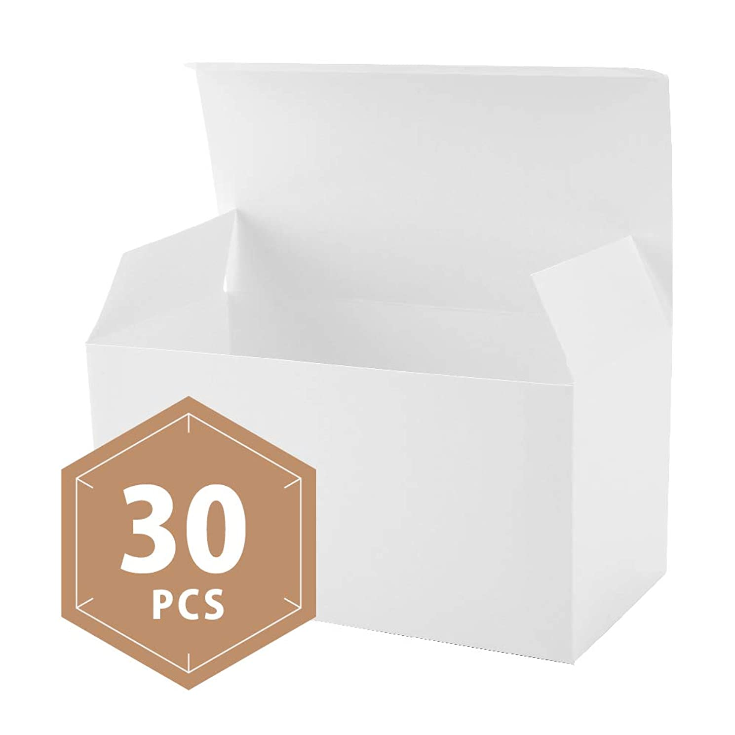 PACKHOME 30 White Gift Boxes with Lids 9x4.5x4.5 Inches Paper Gift Box for Wedding,Gift,Party,Recycled Paper