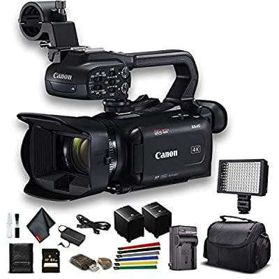 Canon XA40 Professional UHD 4K Camcorder (3666C002) W/Extra Battery, Soft Padded Bag, 64GB Memory Card, LED Light, and More Base Bundle (Renewed) from Canon