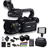 Canon XA40 Professional UHD 4K Camcorder (3666C002) W/Extra Battery, Soft Padded Bag, 64GB Memory Card, LED Light, and More Base Bundle (Renewed)