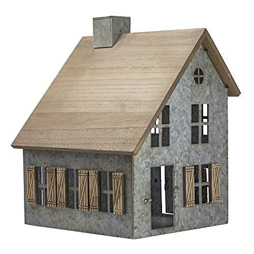 American Art Decor Wood and Metal Schoolhouse Farmhouse Tabletop Decor Accessory