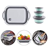 4 Pack Multifunction Over-The-Sink Cutting Board with Collapsible Silicone Bowl with Lid -Collapsible Cutting Board with Dish Tub Foldable Dish Tub - Portable Washing Basin - 3-in-1 Chopping Board