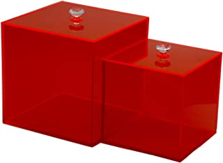 Acrylic Display Box with Lid POP Firgures Display Holder Candy Box Molded Cupcake Stand Storage Container for Wedding, Party Favor, Treats, Candy Mini Gifts, Sewing Set, Cosmetic Organizer (red)