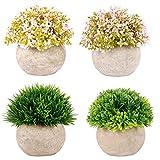Kyrieval Topfpflanze Künstlich Blumen Gras Bonsai Grün Rot 4er-Set klein, Zuhause Wohnung Büro Dekor Hochzeit Geburtstag Weihnachten Geschenk
