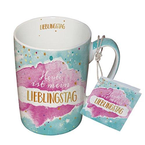 PPD Tasse en Porcelaine pour Lait, Café, Thé – Tasse pour Petit Déjeuner 'Lieblingstag' 0,25l.