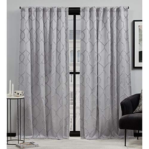 Elle Decor Laine Light Filtering Back Tab Rod Pocket Curtain Panel Pair, 54x84, Grey