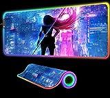 Anime Girl Luces de neón Alfombrilla de ratón RGB Alfombrillas de Mesa de Colores Brillantes Accesorios para Jugadores LED Teclado de computadora Alfombrilla de Escritorio para PC, 800x300x4 mm
