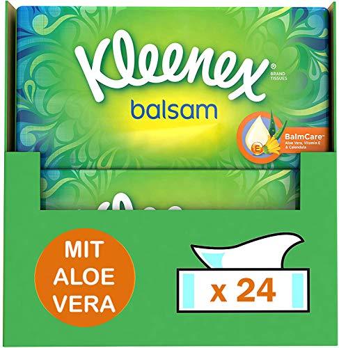 Kleenex Balsam Taschentücher, 4-lagig, ideal bei Erkältungen und Allergien, 24 Packungen 60 Tücher, Vorratspackung