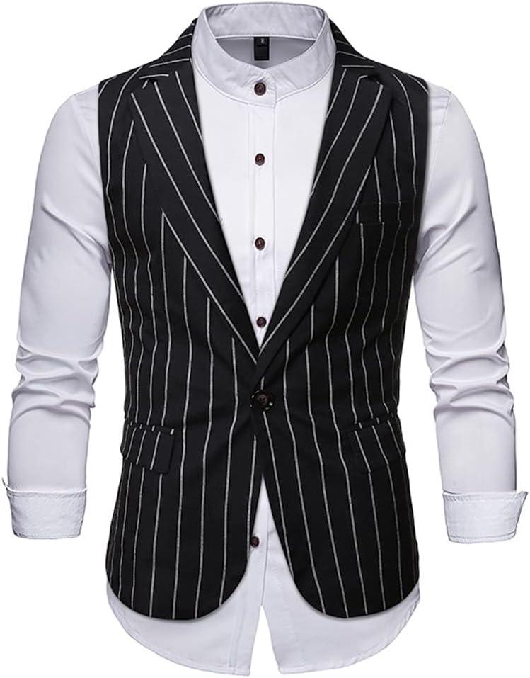 YFQHDD Men's Vertical Striped One Button Dress Vest Slim Fit Sleeveless Tuxedo Vests Waistcoat Men Formal Business (Color : Black, Size : L code)