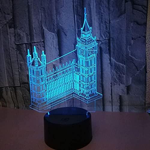 3D Big Ben lámpara de luz de noche 16 cambio de color LED táctil control remoto USB mesa regalo niños juguetes decoración Navidad regalo regalo de cumpleaños