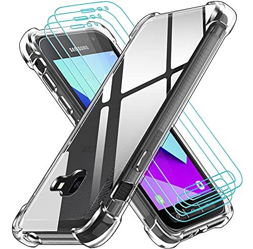 iVoler Cover per Samsung Galaxy Xcover 4 / Xcover 4s, Antiurto Custodia con Paraurti in TPU Morbido e 3 Pezzi Pellicola Vetro Temperato, Ultra Sottile Trasparente Silicone Protettiva Case
