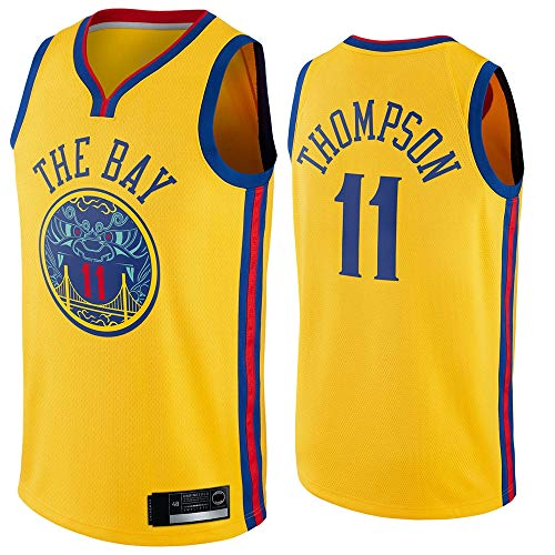 Uniformes De Baloncesto De Los Hombres, Golden State Warriors # 11 Klay Thompson, NBA Basketball Jerseys Sin Mangas Camisetas Casuales Y Camisetas Cómodas,Amarillo,XL(180~185CM)