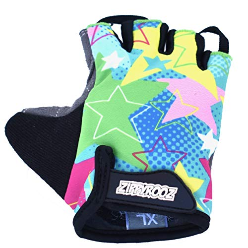 ZippyRooz Toddler & Little Kids Bike Gloves for Balance and Pedal Bicycles for Ages 1-8 Years Old. 8 Designs for Boys & Girls (Stars, Little Kids Small (1-2))