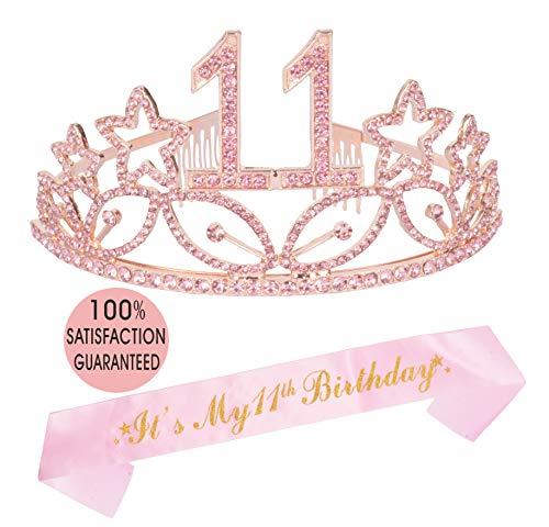 11th Birthday Gifts for Girl, 11th Birthday Tiara and Sash Pink, Happy 11th Birthday Party Supplies, 11 & Fabulous Glitter Satin Sash and Crystal Tiara Birthday Crown for 11th Birthday Party Supplies