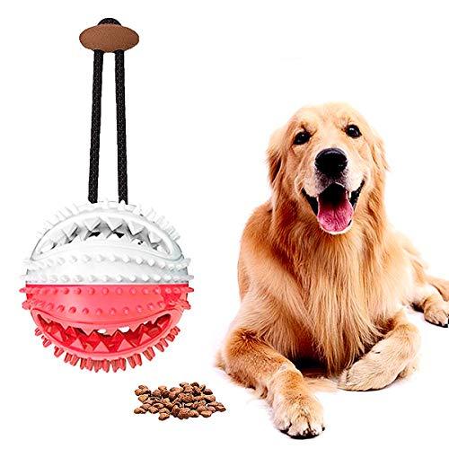 Hundespielzeug Ball, Interaktive Hundespiele, Hundefutter-Leckerli-Futterautomat, Zahnreinigungsball, Rot&Weiß (1er Pack)