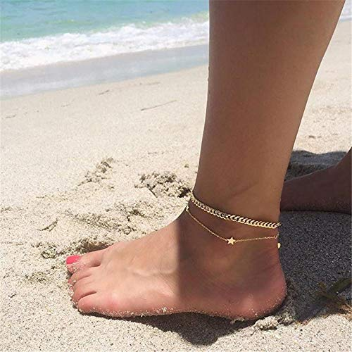 WEIYYY Vintage Moon Star Shell Bells Crystal Multilayer Anklets for Women Gold Silver Color Bracelet Body Jewelry,3638