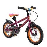 BIKESTAR Bicicleta Infantil para niños y niñas a Partir de 4 años | Bici de montaña 14 Pulgadas con Frenos | 14' Edición Mountainbike Berry Naranja
