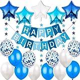 """Décoration Anniversaire Garcon Deco - 1 Banderole Bannière Joyeux Anniversaire """"Happy Birthday"""" +5 Ballons Aluminium Etoiles + 6 metres Guirlande Etoiles+ 12 Ballons 30 cm Bleu Blanc et Confeti"""