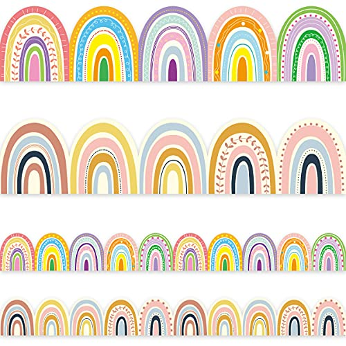 Boho Bulletin Border Trim 36ft Two Sided Rainbow Border for Classroom Back to School Family Party