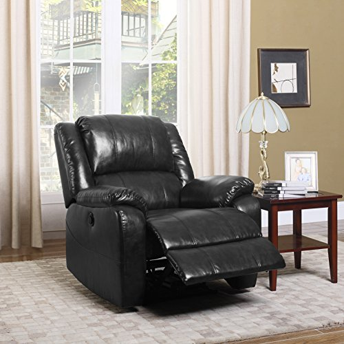 Divano Roma Furniture EXP59-1S-BLK Plush Bonded Leather Power Electric Recliner Living Room Chair...