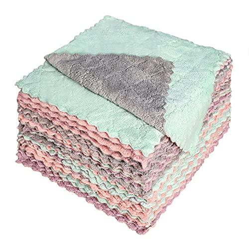 MAGFYLY 50 piezas de trapos antiadherentes para platos, almohadillas para fregar la cocina del hogar, toallas de limpieza gruesas (tamaño pequeño)