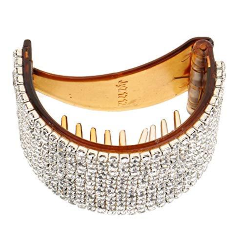 Sharplace Pinces à Cheveux Barette à Cheveux Strass Bling Grand Support de Queue de Cheval - café, 5.5x4cm