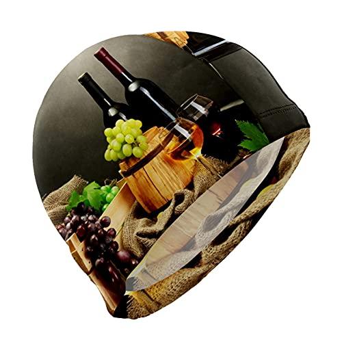 Gorro de natación con diseño de uvas de vino tinto francés y delicioso gorro de natación para hombres, niños, adultos, jóvenes, adolescentes, gorro de natación antideslizante