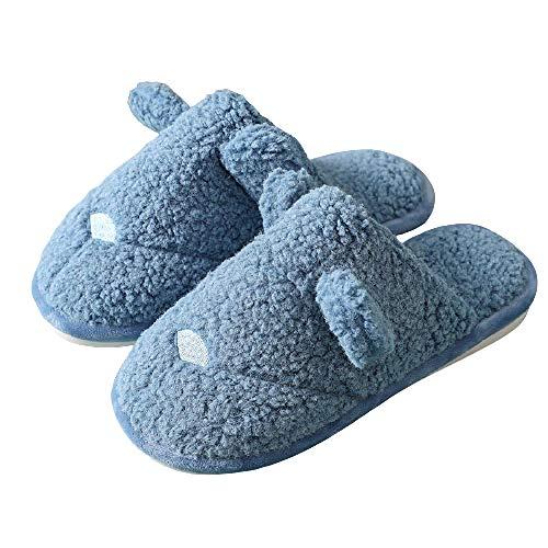 Unisex Adulto Invierno ZapatilCasa Antideslizantes, Deslizadores del algodón la espuma memoria, zapatos antideslizantes la familia del algodón lavable, deslizadores interiores mujeres-azul_37-38