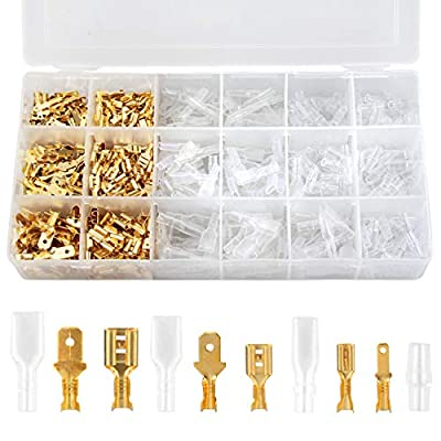 Preciva 300Pcs Male and Female Wire Spade Connectors Kit, 2.8mm/ 4.8mm/6.3mm Wire Crimp Terminals with 300Pcs Insulated Sleeves for Electrical Wire Crimping Project.