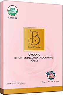 BeautiPromise USDA Certified Organic Facial Sheet Face Mask, 6 Pack (Brightening and Smoothing)