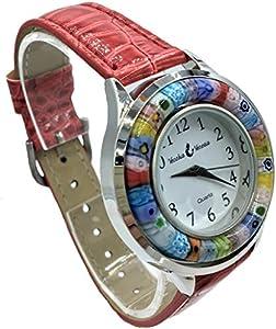 Reloj mujer rosa cristal Murano y antigua Murrine Millefiori