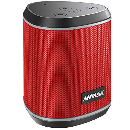 Bluetooth Speaker 5.0, ANVASK IPX7 Waterproof Portable Wireless Bluetooth Speaker, 360° Stereo Sound, Built-in Mic, 100-foot Bluetooth Range, 24H Playtime Outdoor Speakers with TWS, TF Card, AUX(Red)