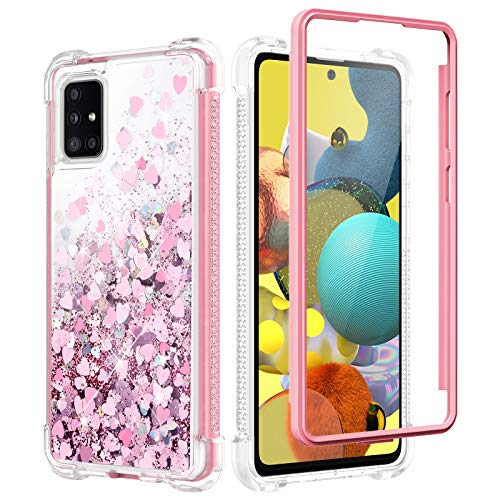 Caka Glitter Case for Galaxy A51 5G Case Glitter Bling Shiny Full Body with Built in Screen Protector Heavy Duty Liquid Flowing Love Shockproof Clear Women Girl Case for Galaxy A51 5G (Rose Gold)