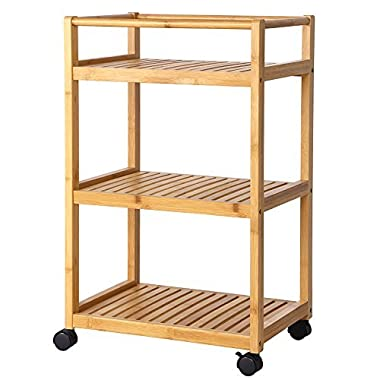 SONGMICS Bathroom Storage Cart, Serving Bar Cart,Utility Trolley Organizer Rack with 3 Shelves and Locking Wheels for Kitchen Bamboo Wood UBCB63N