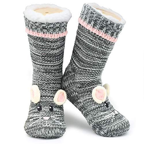 Slipper Socks 3d Novelty Cute Animal Thick Knitted Extra Warm Slippers & Thermal Super Soft Slipper Sock & Winter Wool Socks – All Non-Slip Socks are Fleece Lined with Grippers (Mouse)-Grey-UK 4-8