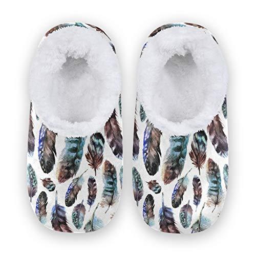 TropicalLife FELIZM - Zapatillas de casa étnicas bohemias con plumas, para el hogar, cálidas, antideslizantes, para interiores y exteriores, para hombres y mujeres, color, talla XX-Large