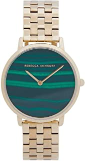 Rebecca Minkoff Women's Major | Gold Plated Steel Bracelet | Malachite Dial 2200373