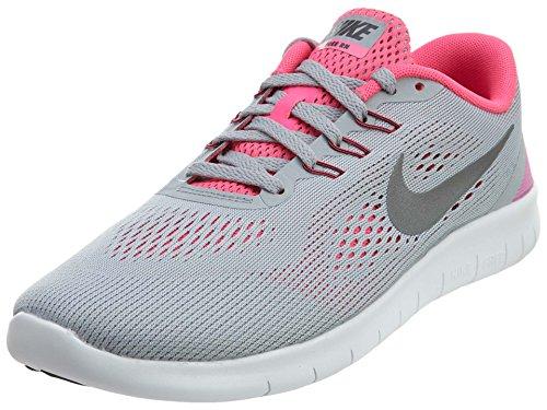Nike Kids Free Rn (GS) Wolf Grey/Metallic Silver Running Shoe 7 Kids US