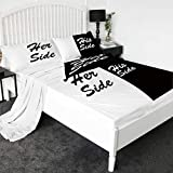 Sleepwish 3D Printed Bed Sheets 4-Piece Premium Quality 1800 Microfiber Non-Fade Breathable Soft - 1 Flat Sheet,1 Fitted Sheet,2 Shams (His Side Her Side, King)