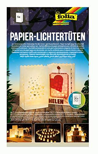 folia 11902 - Lichtertüten aus schwer entflammbarem Papier, Herzen, 5 Stück je ca. 19 x 11,5 x 7 cm groß, stimmungsvolle Tischdekoration, für Gartenpartys, Geburtstage, Hochzeiten